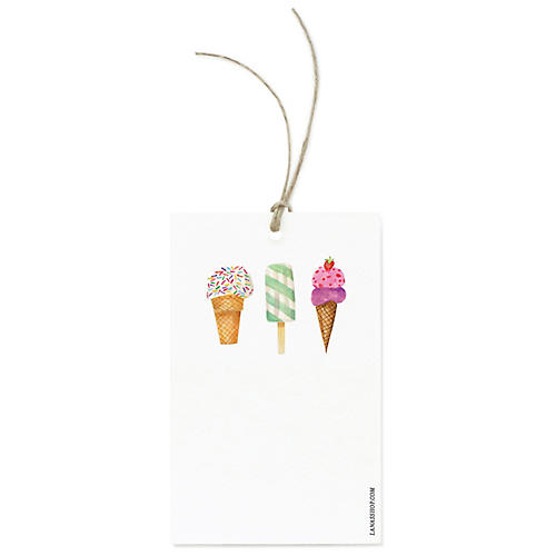 S/12 Ice Cream Cones Gift Tags