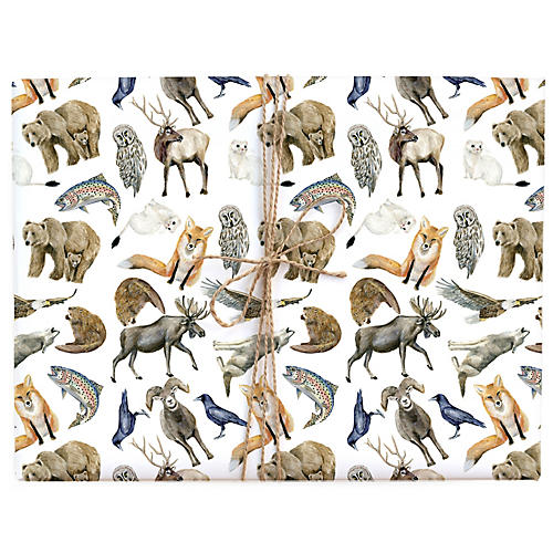 S/3 Mountain Animals Gift Wrap
