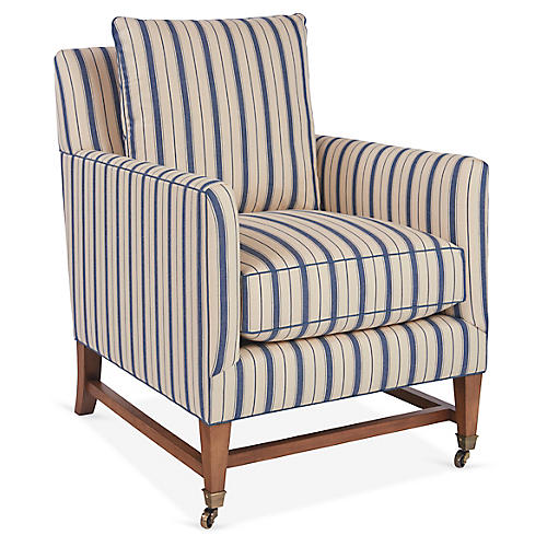 Brentwood Club Chair, Blue Stripe