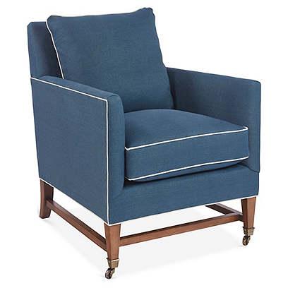 Brentwood Club Chair, Blue Linen
