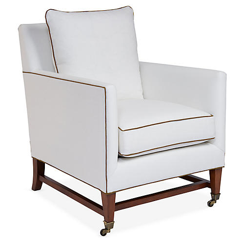 Brentwood Club Chair, Ivory/Tan Linen