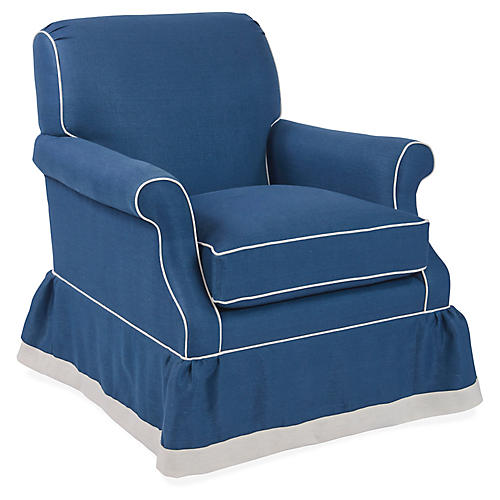 San Remo Club Chair, Bright Blue Linen