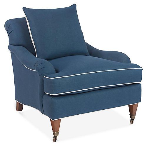 Santa Barbara Club Chair, Blue Linen