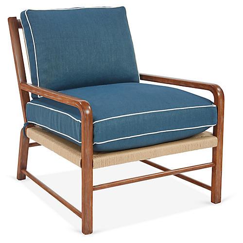 Miramar Accent Chair, Blue Linen