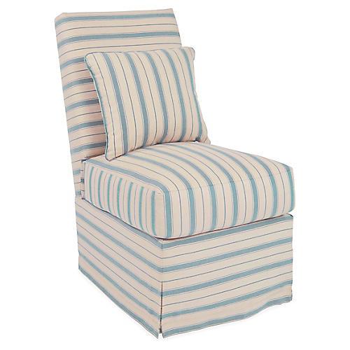 Wilshire Slipper Chair, Light Blue Stripe
