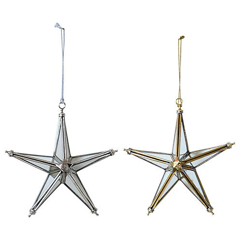Asst. of 2 Mirrored Star Ornaments, Silver/Gold