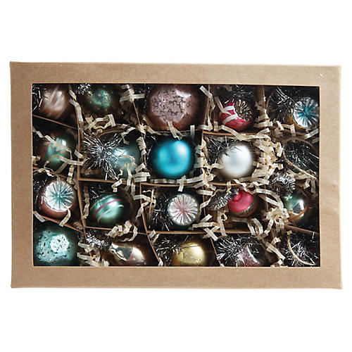 S/20 Vintage-Style Ornaments, Teal/Multi