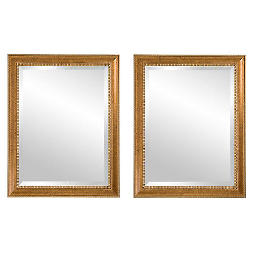 S/2 Irene Wall Mirrors, Antiqued Gold