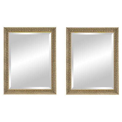 S/2 Irene Wall Mirrors, Antiqued Pewter