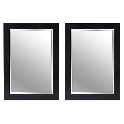 S/2 Pleasant Wall Mirrors, Black