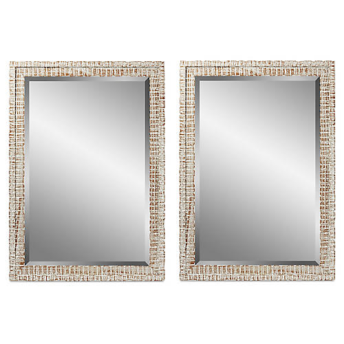 S/2 Weathered Wall Mirrors, White