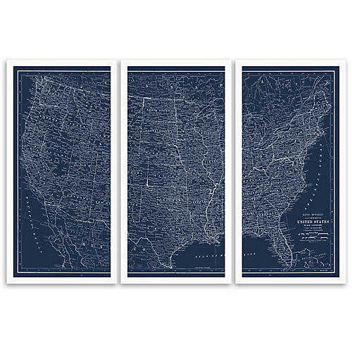 United States Map Triptych
