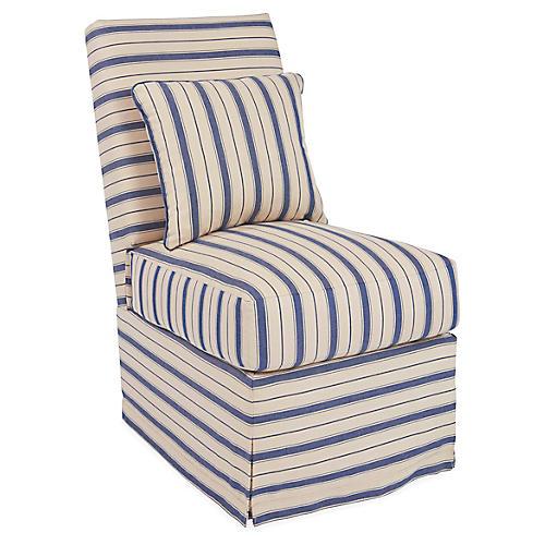 Wilshire Slipper Chair, Blue Stripe