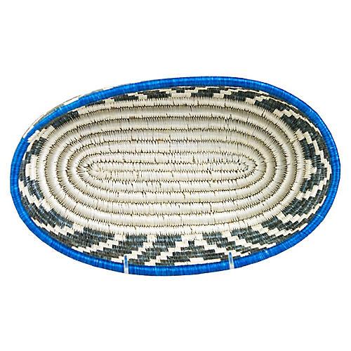 "12"" Humera Elegu Bread Basket, Lake Blue/White"