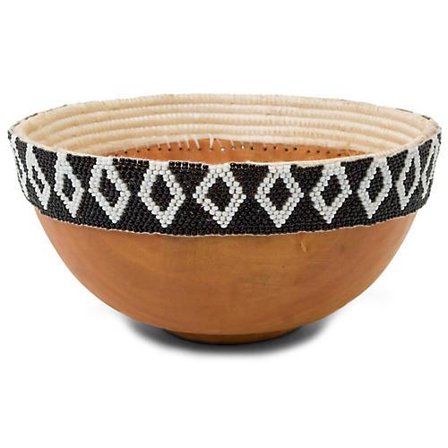 "8"" Seka I Beaded Bowl, Black/White"