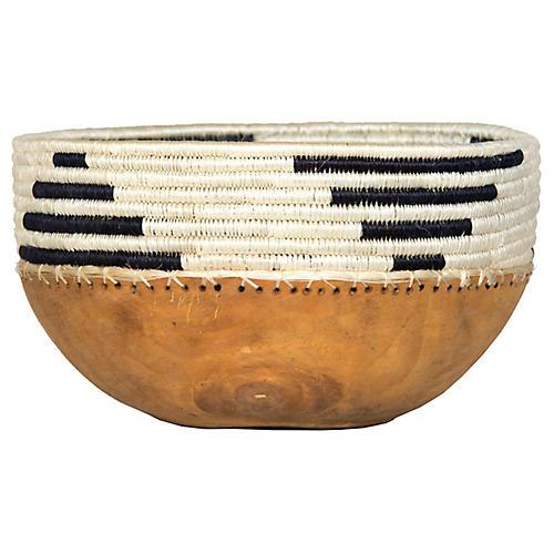 "8"" Seka Decorative Bowl, Black/White"
