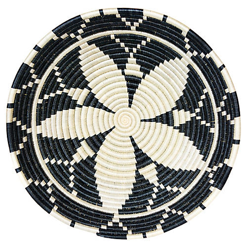 "14"" Lindy Kitgum Basket, Black/White"