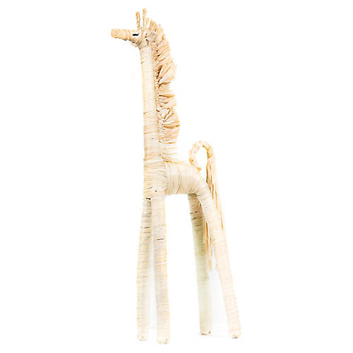 Raffia Giraffe Figure, Natural