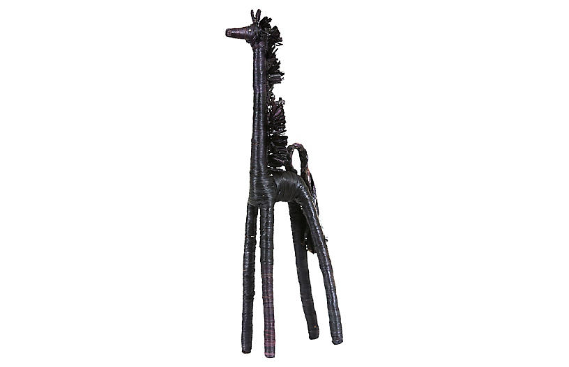 Raffia Giraffe Figure - Black - All Across Africa