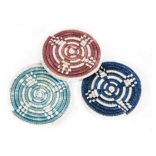 Asst. of 6 Hope Lamu Coasters, Rosewood/Blue