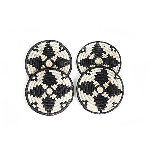 S/4 Kwizera Neri Coasters, Black/White
