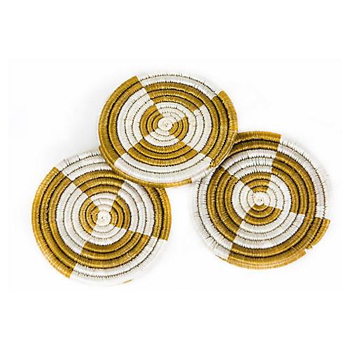 S/6 Sunrise Molo Coasters, Dijon/Ivory