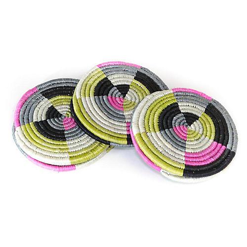 S/6 Sunrise Vihiga Coasters, Pink/Lime/Multi