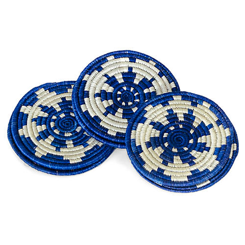S/6 Lake Hope Coasters, Blue/Ivory