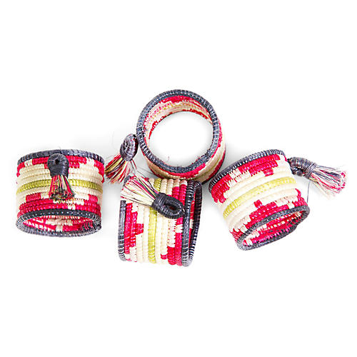 S/4 Tasseled Napkin Rings, Hibiscus/Multi