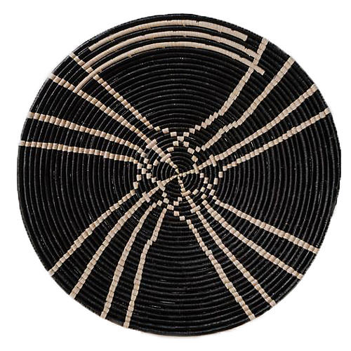 Sanaa Raffia Charger, Black/Natural