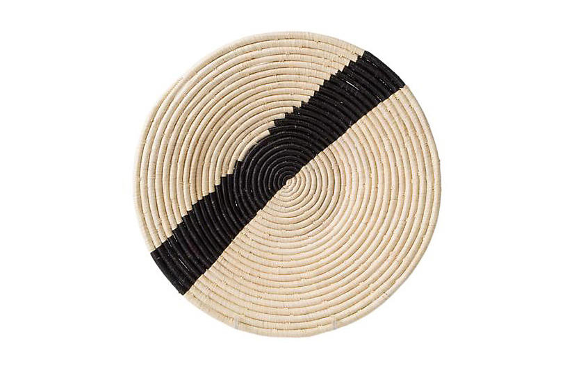 Striped Raffia Charger, Natural/Black