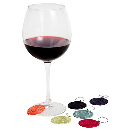 Asst. of 6 Solid Flora Wine Charms, Multi