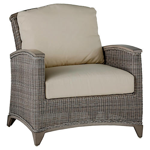 Astoria Club Chair, Dove Sunbrella