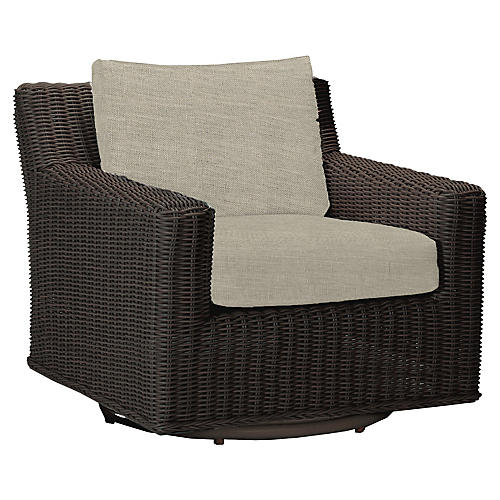 Rustic Swivel Club Chair, Dove Sunbrella