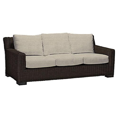 Rustic Sofa, Dove Sunbrella
