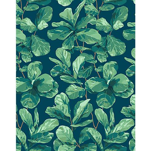 Fiddle Fig Wallpaper, Indigo