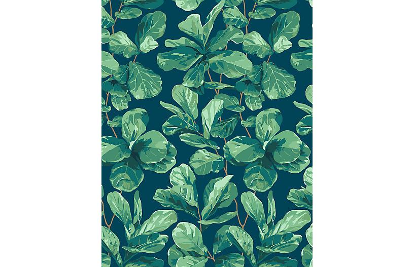 Fiddle Fig Wallpaper, Indigo