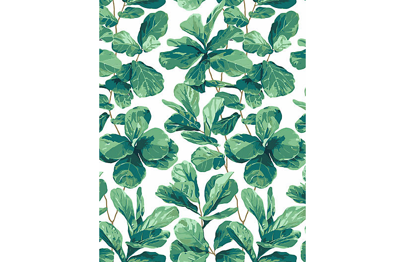 Fiddle Fig Wallpaper, White