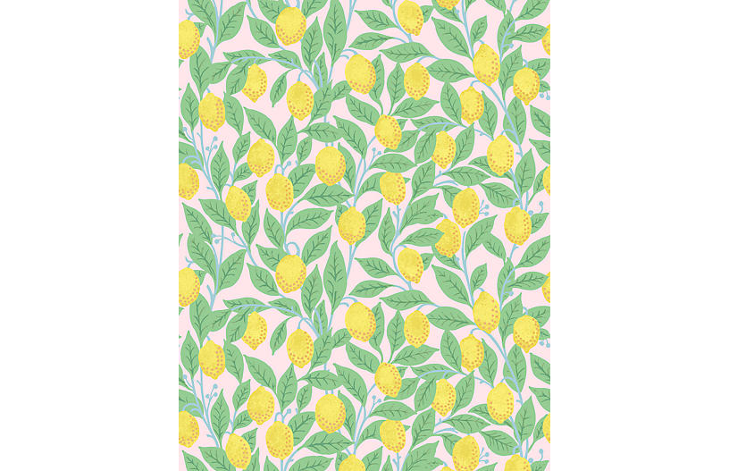 Lemons Wallpaper, Pink