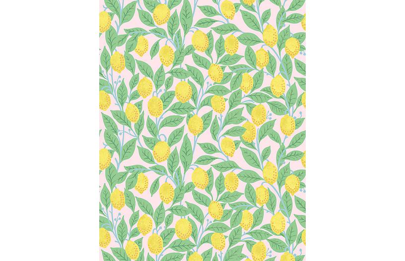 Lemons Wallpaper, Pink
