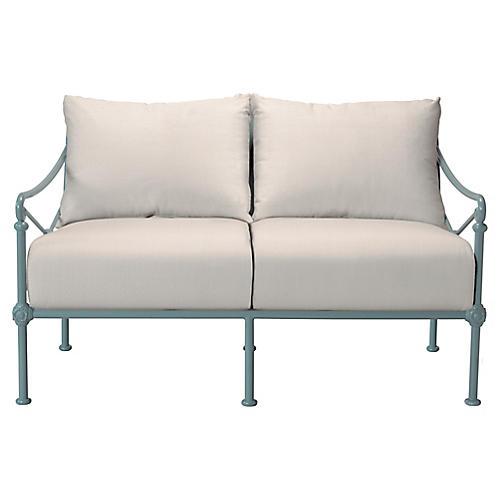 1800 2-Seat Outdoor Sofa, White Sunbrella