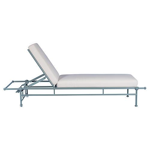 1800 Outdoor Chaise Lounge, White Sunbrella