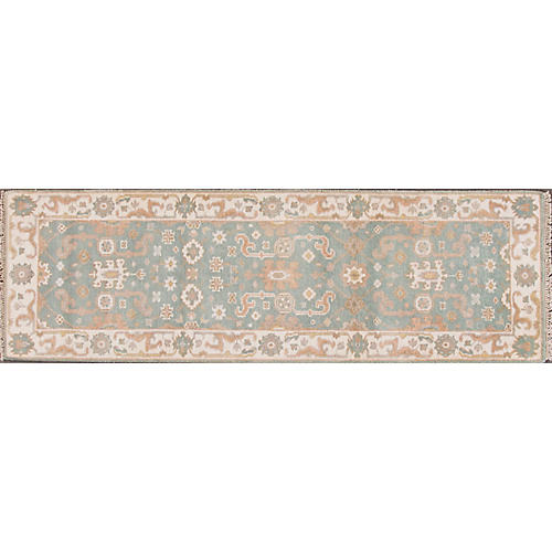 """2'8""""x8' Modern Oushak Hand-Knotted Rug, Blue"""