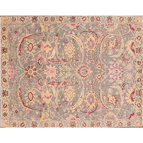 """7'10""""x10' Contemporary Hand-Knotted Rug, Rose"""