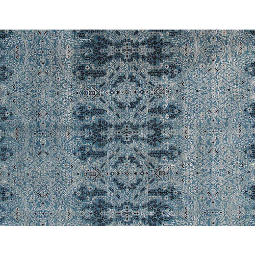 8'x10' Modern Indian Hand-Knotted Rug, Blue