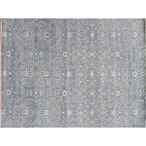 """9'x11'10"""" Modern Indian Hand-Knotted Rug, Slate"""