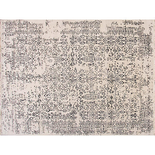 """10'1""""x13'6"""" Modern Hand-Knotted Rug, Ivory"""