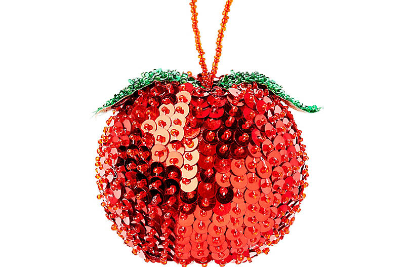 Apple Beaded Ornament, Red
