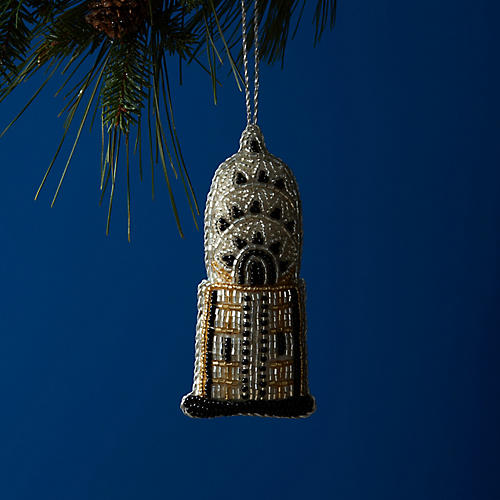 Chrysler Building Beaded Ornament, Silver/Multi