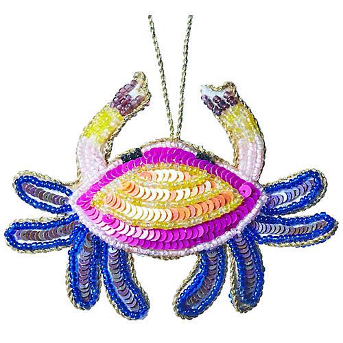 Crab Beaded Ornament, Yellow/Multi